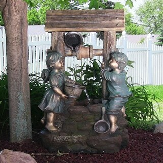Sunnydaze Children at the Well Outdoor Water Fountain with LED Light - 39-Inch
