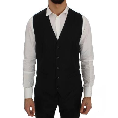 Black Wool Dress Formal Men's Vest - IT48 M