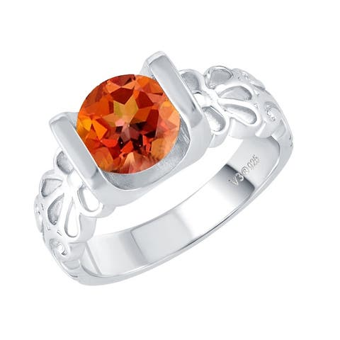 Sterling Silver with Fire Topaz Solitaire Swirl Ring