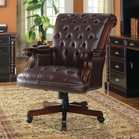 Copper Grove Abao Dark Brown Bonded Leather Adjustable Executive Office Chair