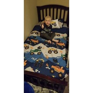 Mi Zone Kids Gavin Monster Truck Blue Reversible Coverlet Set