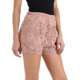 Shop Dusty Rose Crochet Lace Shorts With Elastic Waist Sl4560 2 2 2