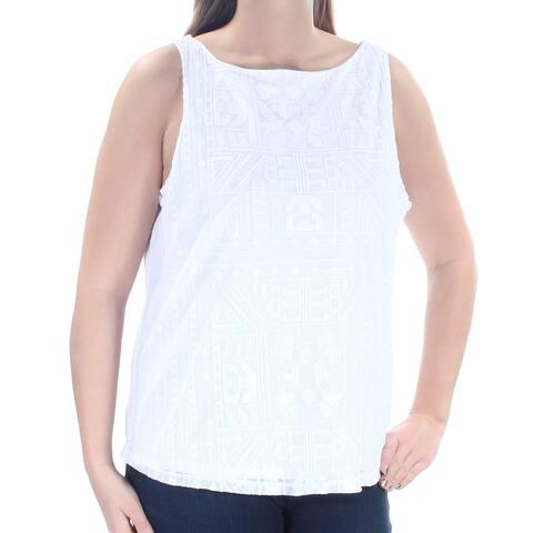 Ralph Lauren Womens White Embellished Geometric Sleeveless Jewel Neck Top Size: L