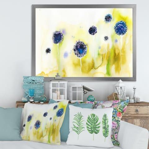 Designart 'Blue Flowers In The Meadow' Traditional Framed Art Print