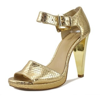 Michael Michael Kors Juliet Women  Peep-Toe Leather Gold Heels