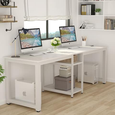78 Computer Desk, Double Workstation Desk with Shelf for Home Office