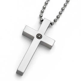 Chisel Titanium Polished 1/2pt. Diamond Cross Necklace - 22 in