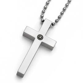 Chisel Titanium Polished 1/2pt. Diamond Cross Necklace - 22 in|https://ak1.ostkcdn.com/images/products/is/images/direct/301e1e52c316ae355f8602b3085547402c7a1442/Chisel-Titanium-Polished-1-2pt.-Diamond-Cross-Necklace---22-in.jpg?impolicy=medium