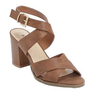 "Julienne Adult Cognac 3"" Block Heel Cross Straps Sandals Women"