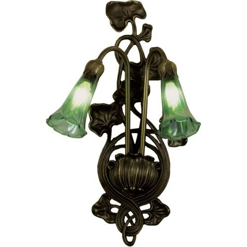 """Meyda Tiffany 17015 Lilies 11"""" Wide 2 Light Double Sconce with Blown Glass"""