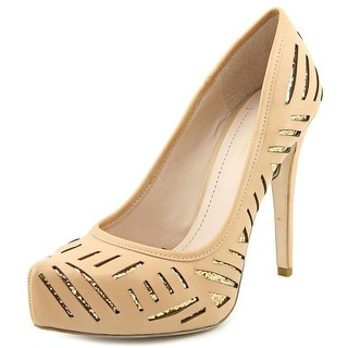 BCBGeneration Prague Women Open Toe Leather Nude Platform Heel