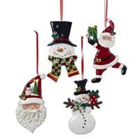 """Pack of 12 Santa Claus and Snowmen Christmas Ornaments 5"""" - WHITE"""