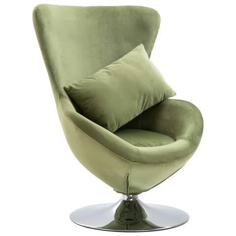 vidaXL Swivel Egg Chair with Cushion Light Green Velvet