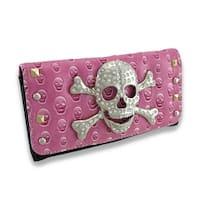 Studded Embossed Skull Wallet with Rhinestone Skull and Crossbones