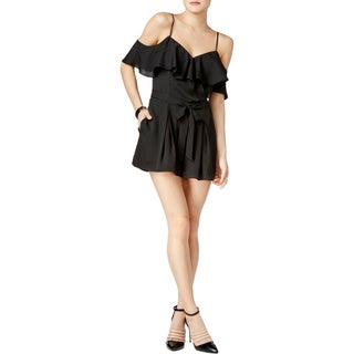 Guess Womens Romper Pleated Cold Shoulder