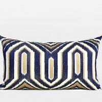 "G Home Collection Luxury Blue Classical Geometry Pattern Embroidered Pillow 12""X20"""