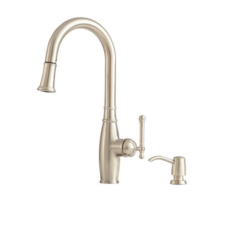 "Giagni PD220 Vivace 18"" Single-Hole Pull-Down Kitchen Faucet with Dual-Function Docking Sprayhead and Soap Dispenser"