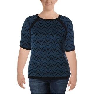 Anne Klein Womens Sweater Stretch Chevron