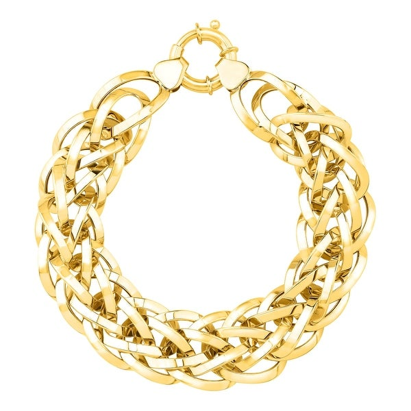 Just Gold Two-Row Interlocking Bracelet in 14K Gold - Yellow