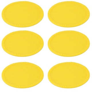 Home Silicone Round Cup Heat Resistant Coaster Table Protector Mat Yellow 6pcs