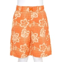 Boys Orange Swimsuit Size 12M Summer Hibiscus Print Trunks Drawstring