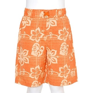 Boys Orange Swimsuit Size 12M Summer Hibiscus Print Trunks Drawstring