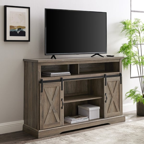 The Gray Barn Wind Gap Sliding Barn Door TV Stand Console. Opens flyout.
