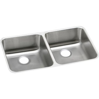 "Elkay ELUHAD311845  Lustertone 30-3/4"" Undermount Double Basin Stainless Steel Utility Sink - Stainless Steel"