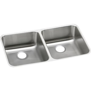 "Elkay ELUHAD311850  Lustertone 30-3/4"" Undermount Double Basin Stainless Steel Utility Sink - Stainless Steel"