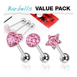3 Pcs Pack of Assorted Shape Surgical Steel Barbell with Epoxy Pink Glitter Ball - 14 GA