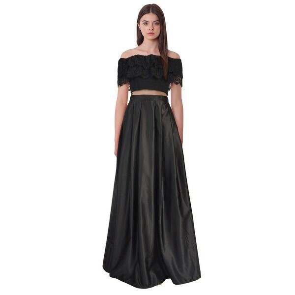 Shop Betsy & Adam Off Shoulder Lace Mesh Inset Evening Gown Dress ...
