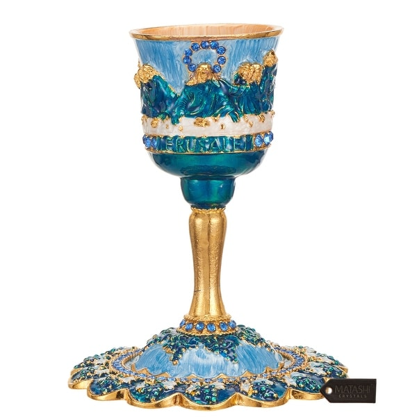 "Matashi Hand-Painted Enamel, 5"" Jesus Chalice Goblet Cup Set w/ Stem and Tray Embellished w/ High Quality Crystals for Christmas. Opens flyout."