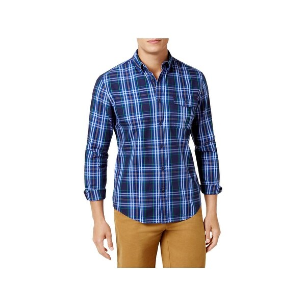 e46066a8 Shop Tommy Hilfiger Mens Button-Down Shirt Plaid Custom Fit - Free Shipping  Today - Overstock - 22902058