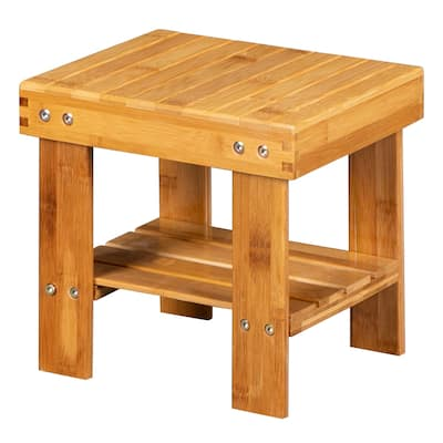 Bamboo Step Stool for Kids Children Adult with Storage Shelf