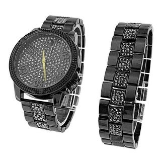 Black Stainless Steel Watch Matching Bracelet Gift Set Lab Diamond Iced Out