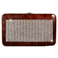 Rhinestone Decorated Frame Wallet-Bronze