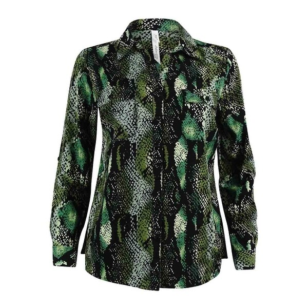NY Collection Women's Animal Print Utility Shirt