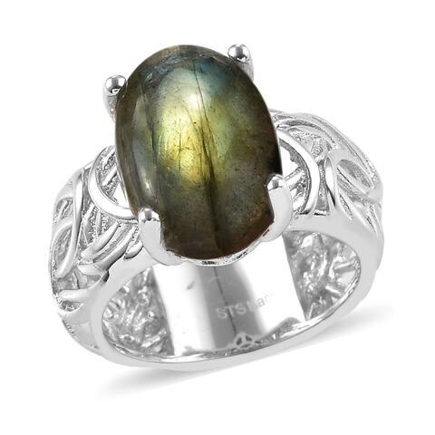 Shop LC Platinum Over Labradorite Solitaire Ring Size 11 Ct 6.7