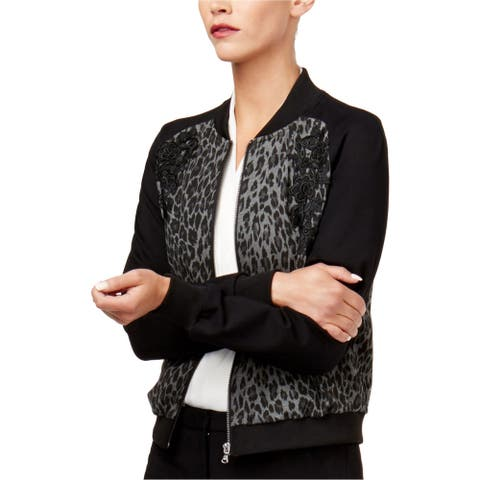 Kobi Womens Embroidered Bomber Jacket, black, Small
