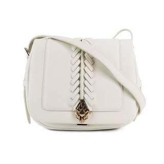 Cavalli Women's White Leather Small Cross-body Saddle Bag - S
