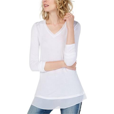 I-N-C Womens Sheer-Trim Basic T-Shirt, white, Large