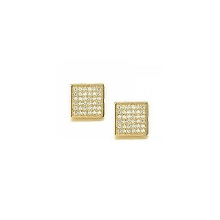 Bling Jewelry Micro Pave Hexagon Square Stud earrings Gold Plated 5mm