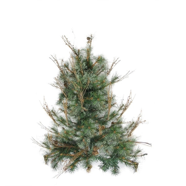"2' x 18"" Country Mixed Pine Artificial Christmas Wall or Door Tree - Unlit - green"