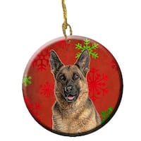 Red Snowflakes Holiday Christmas German Shepherd Ceramic Ornament