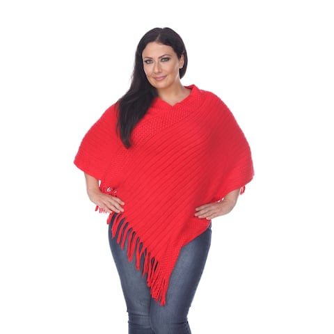 Plus Size Meera Fringe Poncho - Red - M