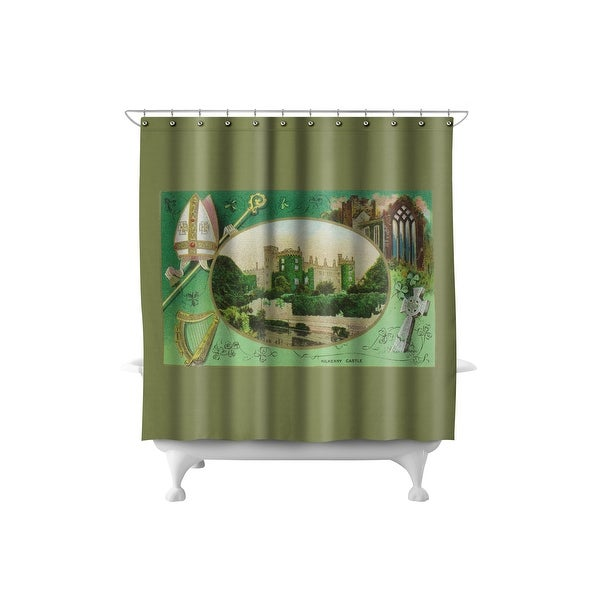 Kilkenny Castle Ireland St Patrick Day Vintage Art 71x74 Poly Shower Curtain
