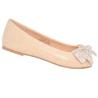 De Blossom Girls Nude Glitter Rhinestone Bow Adorned Slip-On Flats