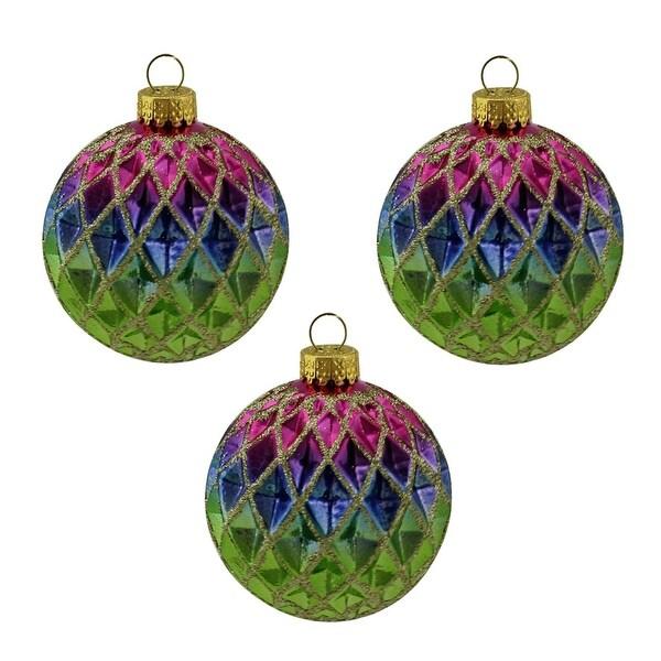 "3ct Green, Blue, Purple and Gold Diamond Design Glass Ball Christmas Ornaments 2.5"" (65mm)"