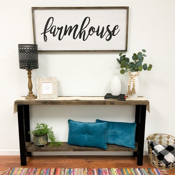 Rustic Mod Jet Industrial Metal Leg and Solid Wood Console Table. Opens flyout.