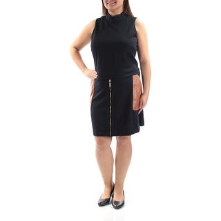 Womens Black Brown Sleeveless Knee Length Sheath Wear To Work Dress Size: XXL